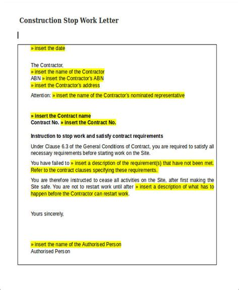 22 Work Letter Sles Sle Templates Stop Letter Template