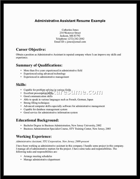 resume sles for assistant resume sles for administrative assistant 28 images