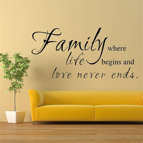 family wall stickers quotes family where begins never ends family wall decal living room quote sayings