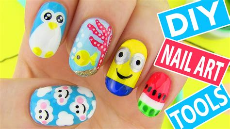 Easy Nail Paint Designs by Diy Nail Tools With 5 Easy Nail Designs How To