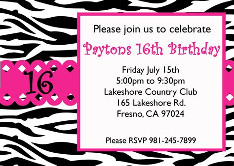 printable invitations for 16th birthday 8 best images of 16th birthday invitations free printable