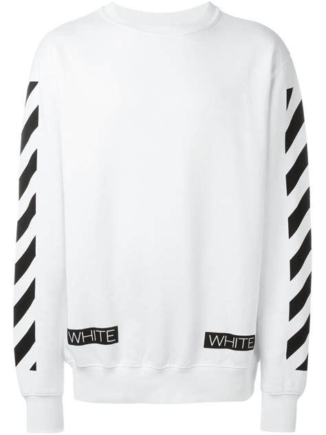 White Crewneck White lyst white c o virgil abloh crewneck sweatshirt in