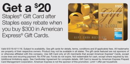 American Express Gift Card Staples - 20 rebate on 300 of amex gift cards at staples frequent miler