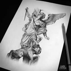 st michael statue tattoo drawing google search angel