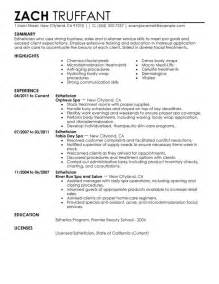 Resume Sles For Estheticians esthetician resume sle my resume