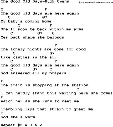 days are chords country the days buck owens lyrics and chords