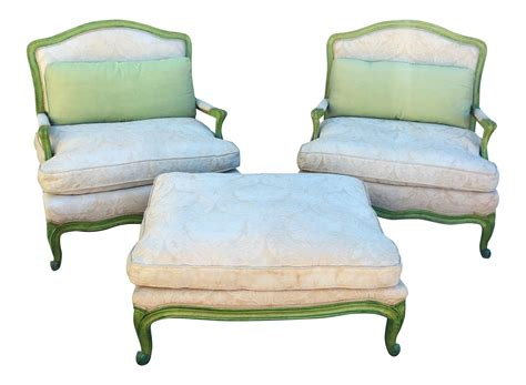 white chair and ottoman set vintage green white chairs ottoman set of 3 chairish