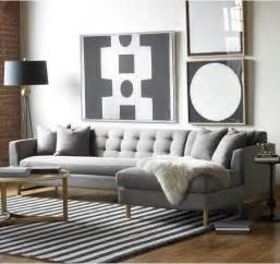 Blue And White Stripped Rug Seating Edward L Shaped Sectional Dwellstudio Modern