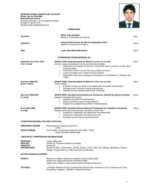 Curriculum Vitae Definition Fr Cv Rafael 2014 Francais