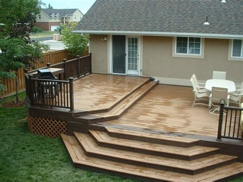 Patio Decks Designs Pictures Trex Woodland Brown And Saddle Deck With Woodland Brown De