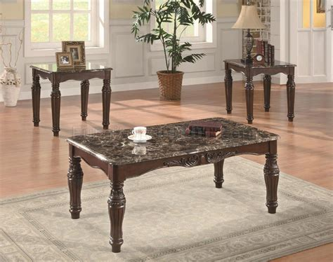 cherry finish classic 3pc coffee table set w faux marble tops