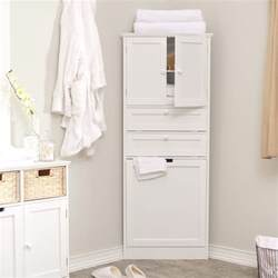 wood corner bathroom storage cabinet with door and
