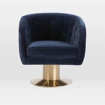 navy tufted barrel chair roar rabbit navy velvet brass swivel chair