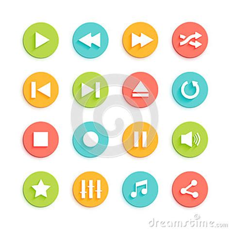 material design icon vector media player material design vector icons set stock vector