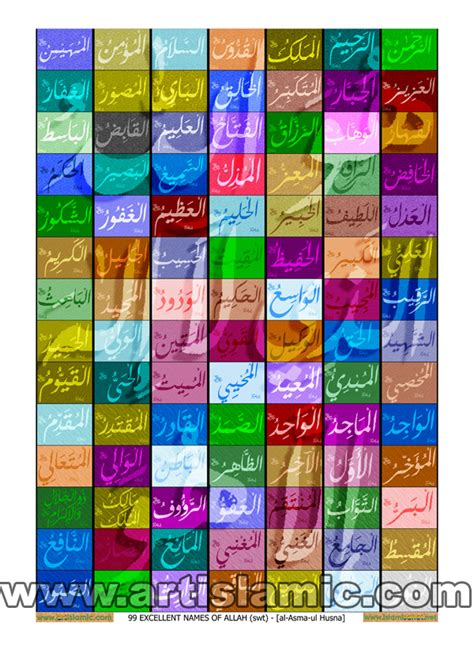 Poster Wall Decor Lahfaz Alloh Swt wall poster and frame designs with the 99 excellent names of allah swt al asmaa ul husnaa