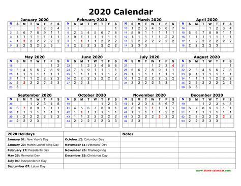 Calendar 2020 Printable With Holidays