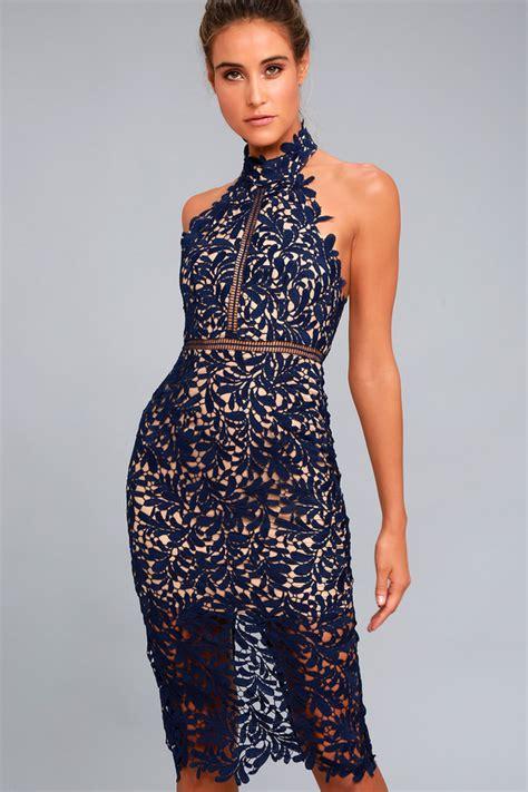vernetta dress blue lace stunning navy blue lace dress midi dress lace halter dress