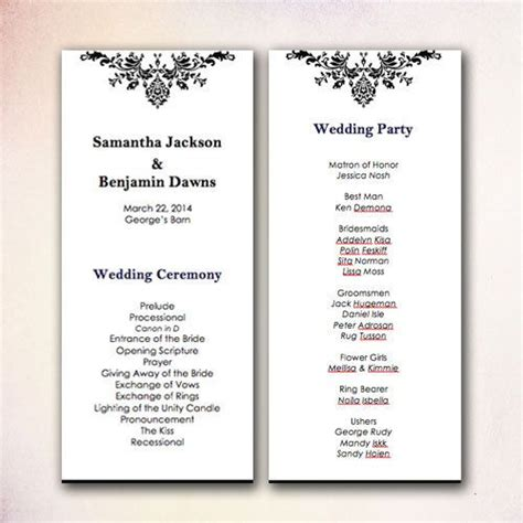 free diy wedding programs templates diy wedding program template instant microsoft