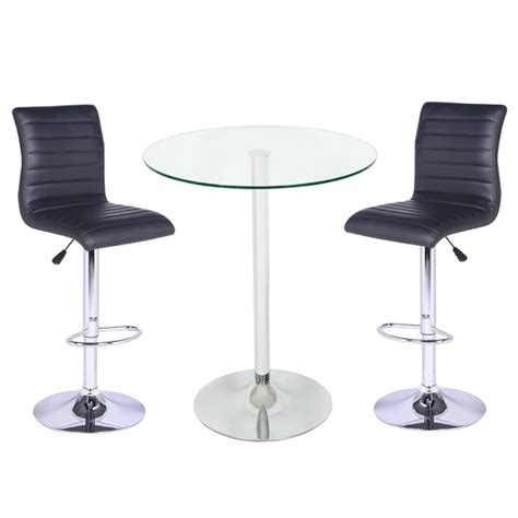 Glass Bar Table And Stools Roma Glass Bar Table In Clear With 2 Ripple Black Bar