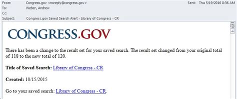 Search Email Alert New Saved Search Email Alerts On Congress Gov In Custodia Legis Librarians Of