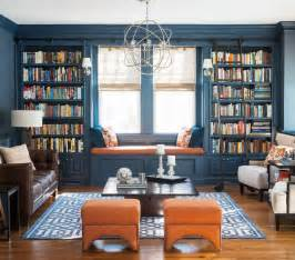 Living Room Library Design Ideas Pine Library Transitional Living Room Other Metro