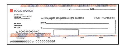 assegno d italia fac simile assegno bancario