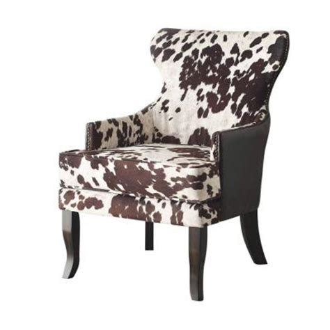 worldwide homefurnishings faux  hide fabric accent chair  brown  bn  home depot