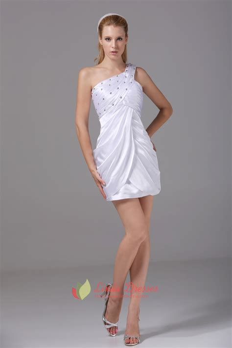 one shoulder white homecoming dresses empire waist