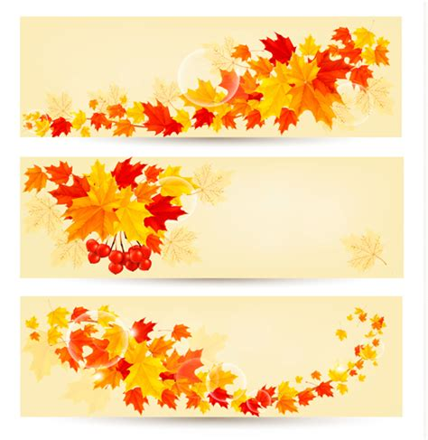 maple leaf banners vector set 02 vector banner free download