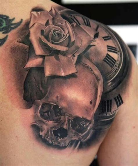 skeleton and roses tattoo skull clock steam