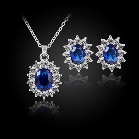 2016 fashion silver blue crystal jewelry sets luxury