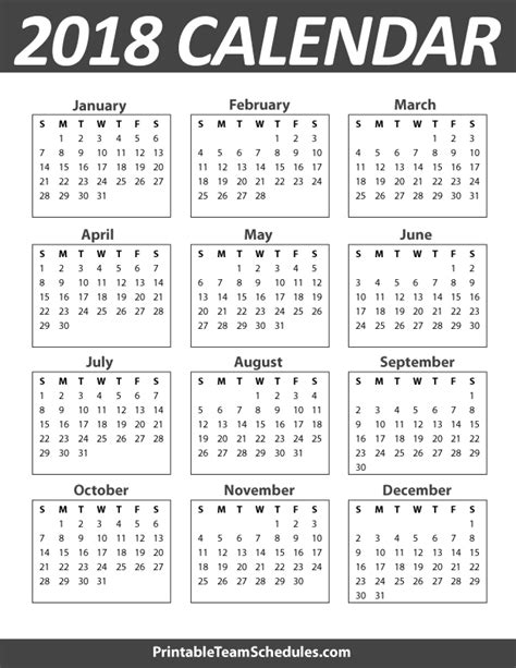 2018 Calendar Year Printable Yearly Calendar Template 2018