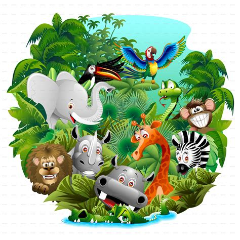 wild animals cartoon   jungle  bluedarkat