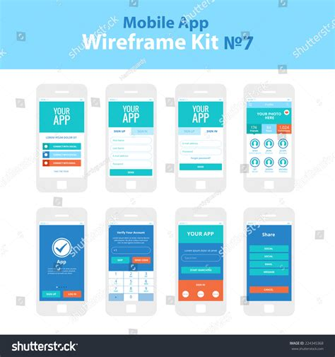 welcome to mobile login mobile app wireframe ui kit 7 welcome screen sign in