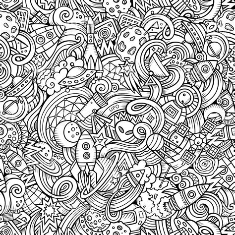 space and pattern in art cartoon handdrawn doodles on the subject of space pattern