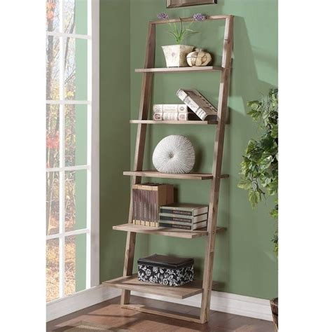 lean living leaning bookcase in smoky driftwood 27737