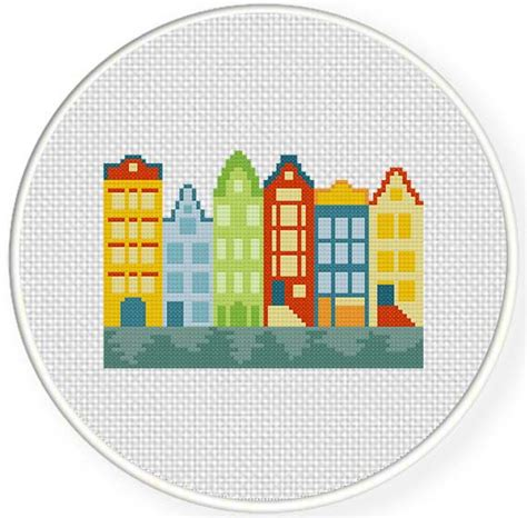 house pattern cross stitch amsterdam houses cross stitch pattern daily cross stitch