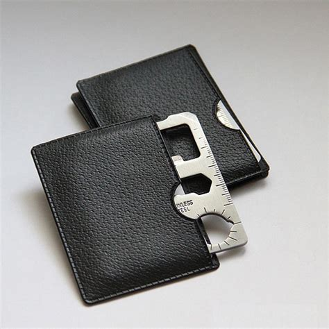 solid wallet edc 11 in1 multi purpose credit card sized pocket tool silver jakartanotebook