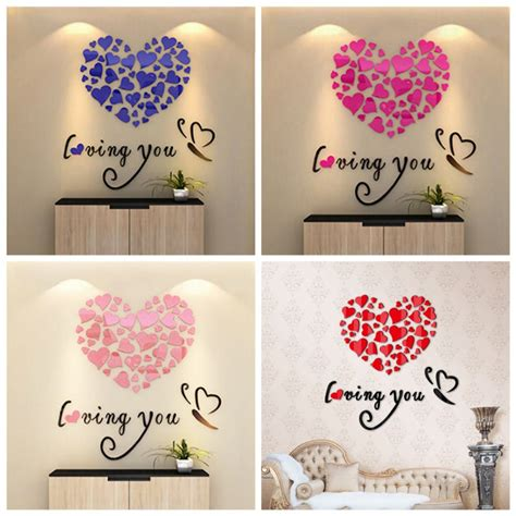 heart wall stickers for bedrooms diy wall art decoration wall stickers 3d romantic heart