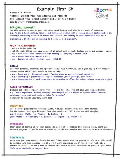 cv layout work experience my first cv template kids stuff pinterest cv