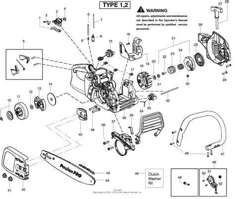 poulan pro chainsaw parts diagram poulan pp4218 gas saw type 1 4218 poulan pro parts