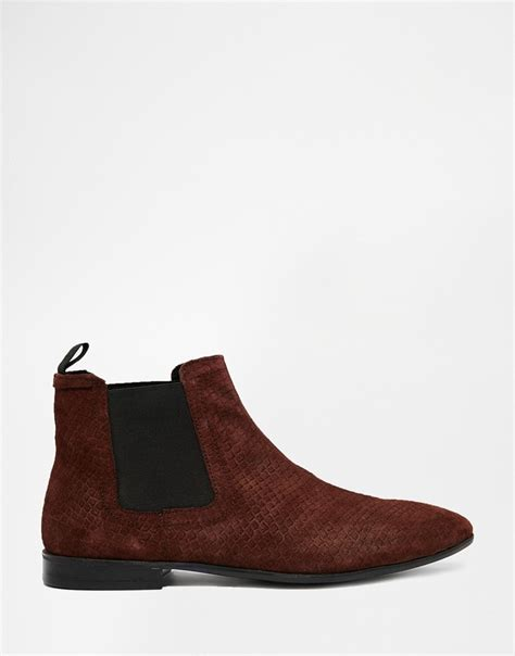 asos chelsea boots in burgundy suede with snakeskin effect