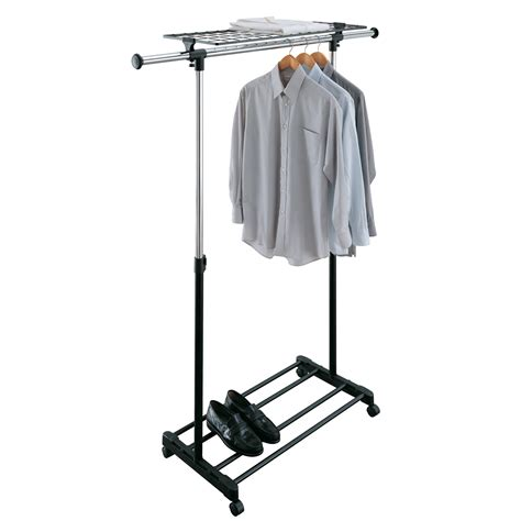 Shirt Racks by Adjustable Rolling Clothing Rack In Clothing Racks And Wardrobes