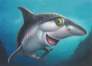 friendly shark cartoony cartoon sea ocean underwater scene art print blue grey painting