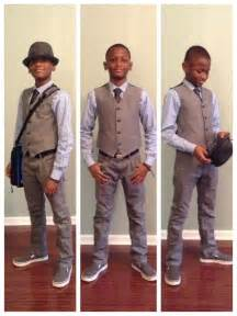 Boys fashion fedora vest tie pinstripe dress shirt gray jeans vans