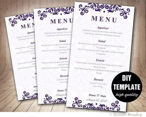 wedding reception menu template purple menu card template diy wedding menu card 4x7purple