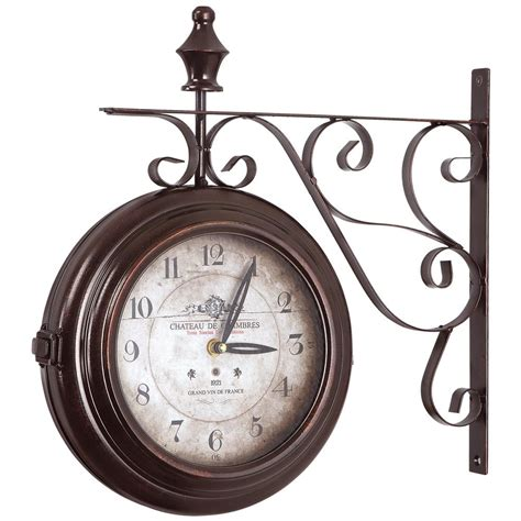home decor wall clocks yosemite home decor 16 in double sided iron wall clock in