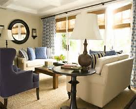 Beige And Navy Living Room by View Size