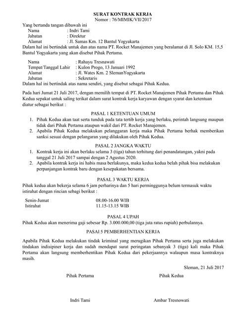 contoh surat perjanjian kontrak kerja terbaru