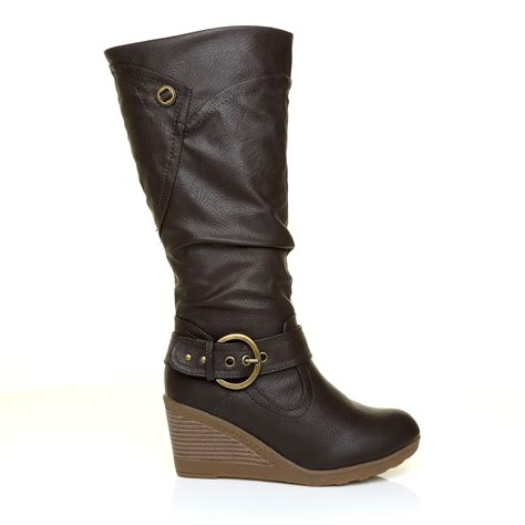 Wedge Mid Calf Boots womens leather look high calf length mid wedge heel boots